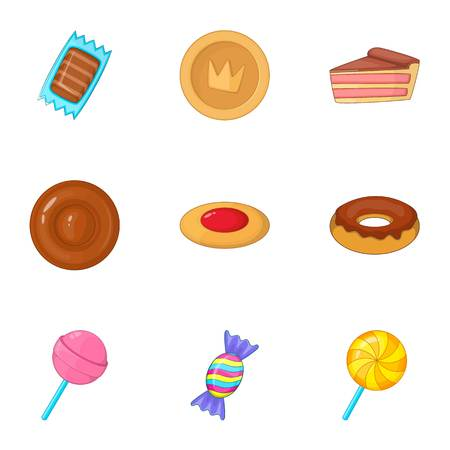 Confectionery and desserts icons set cartoon style