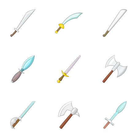 Sword, knife, dagger icons set, cartoon style