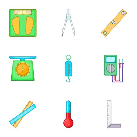 Metering equipment icons set, cartoon style Stock Photo