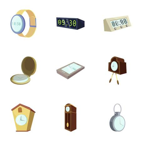 Different slyle of clock icons set, cartoon style
