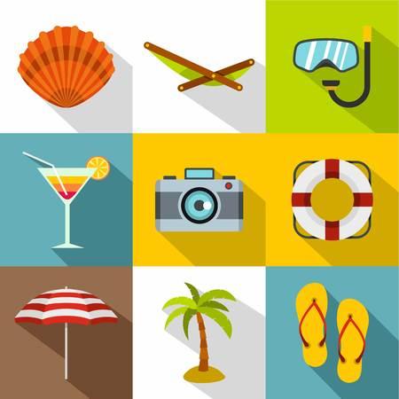 Coast icons set, flat style Standard-Bild