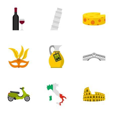 Italy country symbols icons set, flat style