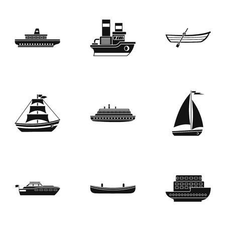 Jeu d'icônes de transport océanique, style simple Banque d'images