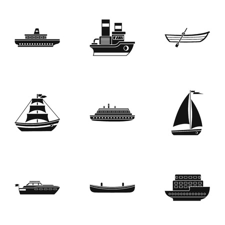 Ocean transport icons set, simple style