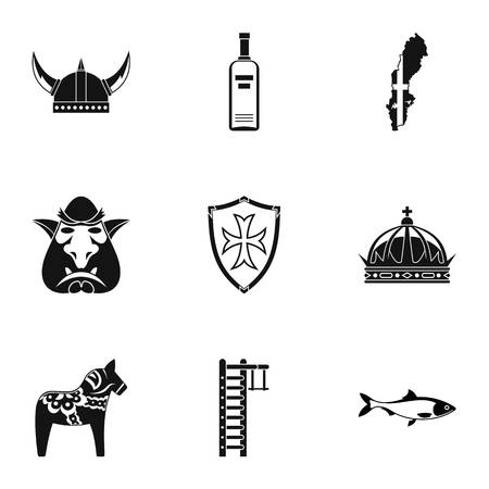 Country of Vikings icons set, simple style