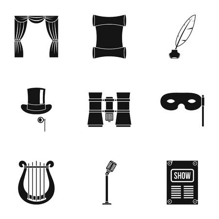 Concert icons set, simple style Archivio Fotografico
