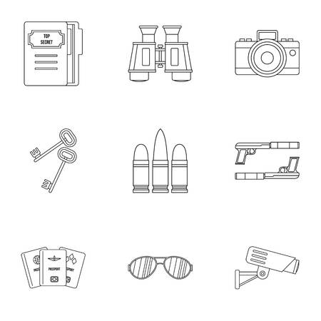 Spy icons set, outline style