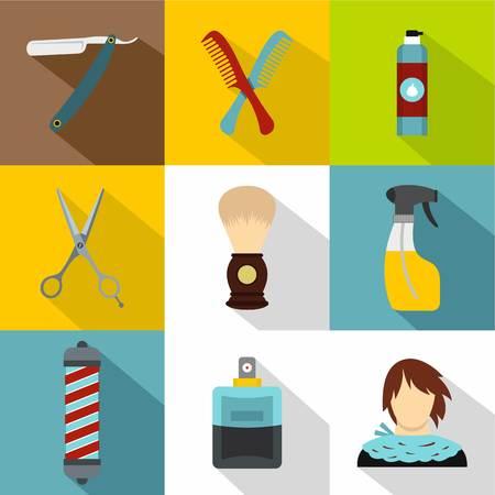 Salon icons set, flat style