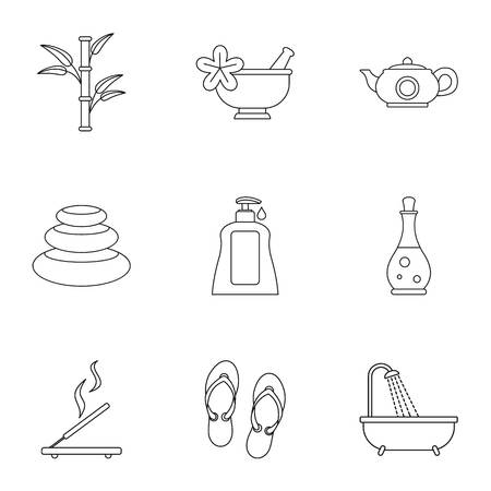 Beauty icons set, outline style Stock Photo