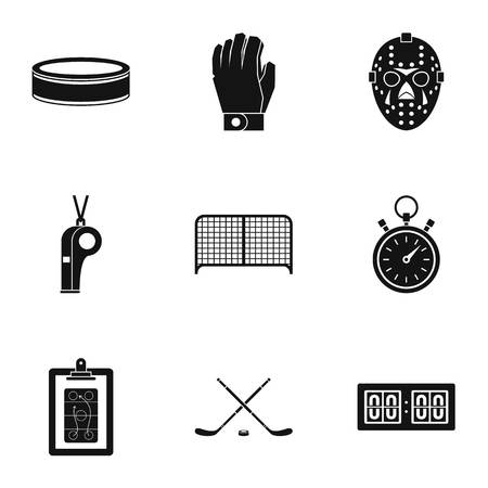 Ice fight icons set, simple style