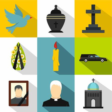 Funeral services icons set, flat style Stock Photo