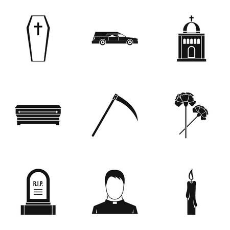 Death of person icons set, simple style