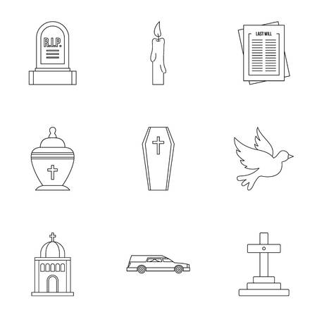 Funeral services icons set, outline style Stock Photo
