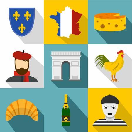 France icons set, flat style