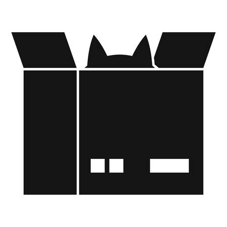 Cat in a cardboard box icon, simple style