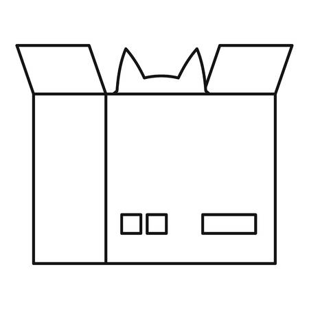 Cat in a cardboard box icon, outline style 写真素材