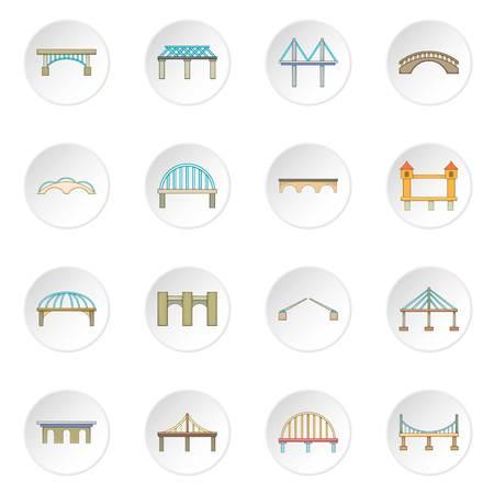 Bridge construction icons set Stock Photo