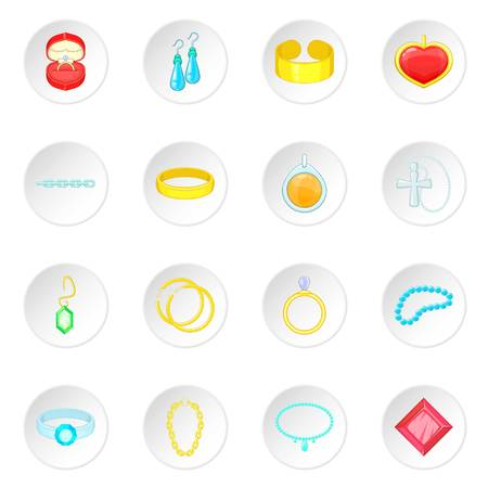 Jewelry items icons set Stock Photo