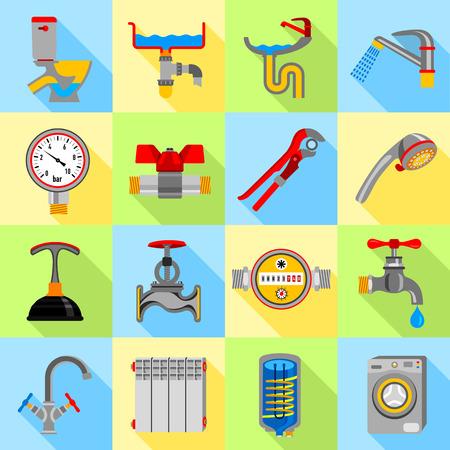 Plumber symbols icons set, flat style