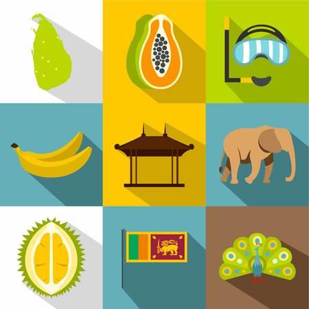Sri Lanka icons set, flat style