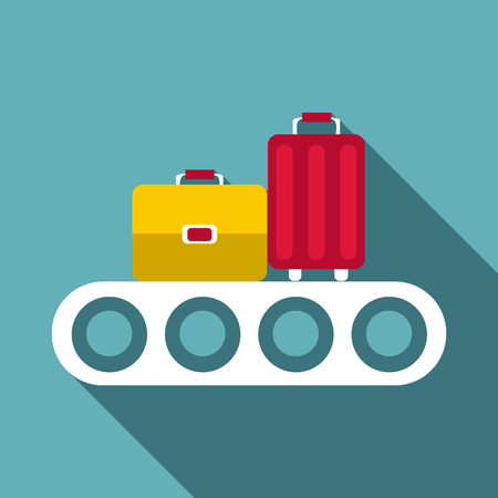 Conveyor belt with baggage icon, flat style 写真素材