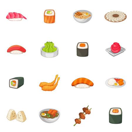 Japanese food icons set, cartoon style Stock Photo