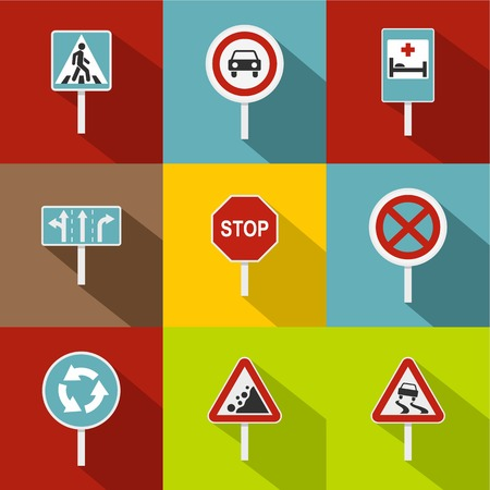 Road sign icons set. Flat illustration of 9 road sign icons for web Archivio Fotografico - 107776185