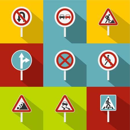 Sign warning icons set, flat style Archivio Fotografico - 107777392