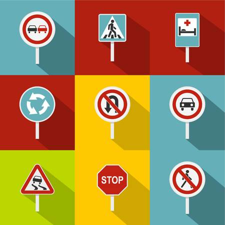 Sign on road icons set, flat style