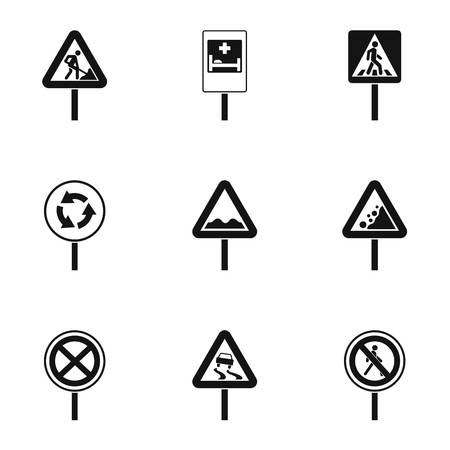 Road sign icons set, simple style Archivio Fotografico - 107776188
