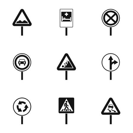Sign on road icons set, simple style Archivio Fotografico - 107776191