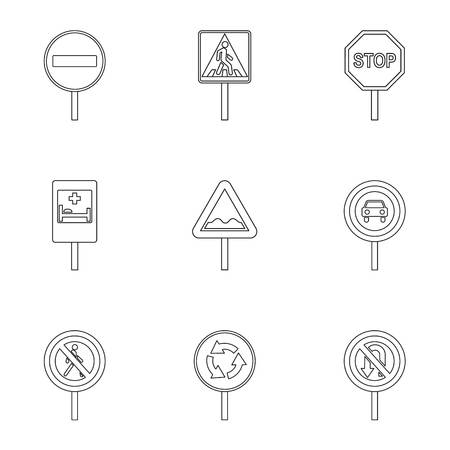 Sign icons set, outline style