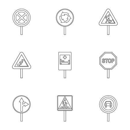 Set di icone del segnale stradale, struttura di stile