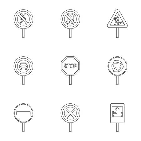 Traffic sign icons set, outline style