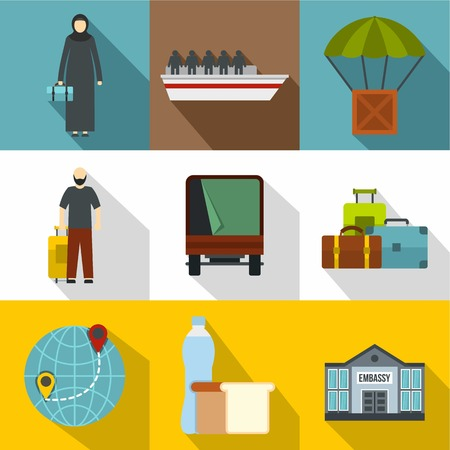 Refugee status icons set. Flat illustration of 9 refugee status icons for web