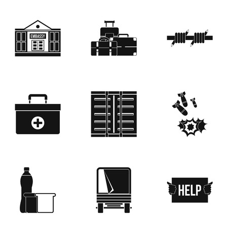 Refugees icons set. Simple illustration of 9 refugees icons for web Stok Fotoğraf