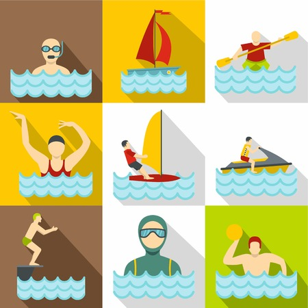 Water sport icons set. Flat illustration of 9 water sport icons for web
