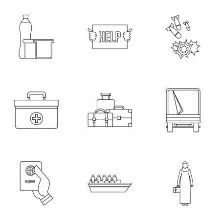 Refugees icons set. Outline illustration of 9 refugees icons for web
