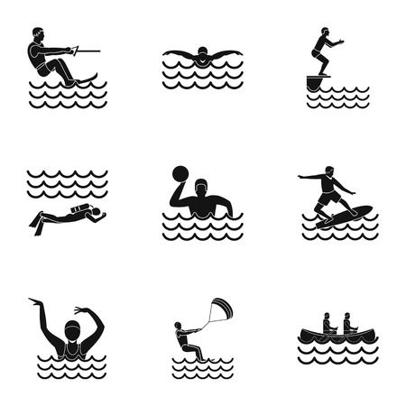 Active water sport icons set. Simple illustration of 9 active water sport icons for web