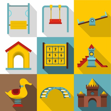 Kids games icons set. Flat illustration of 9 kids games icons for web
