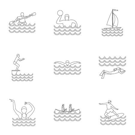 Water exercise icons set. Outline illustration of 9 water exercise icons for web