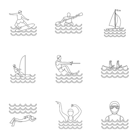 Active water sport icons set. Outline illustration of 9 active water sport icons for web
