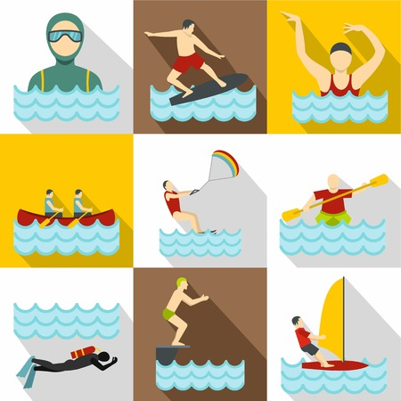 Water stay icons set. Flat illustration of 9 water stay icons for web