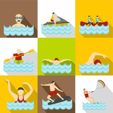 Active water sport icons set. Flat illustration of 9 active water sport icons for web