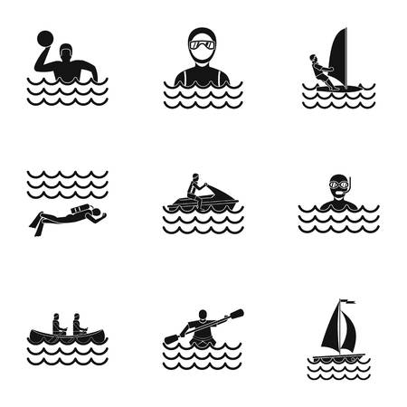 Water sport icons set. Simple illustration of 9 water sport icons for web Stock Photo