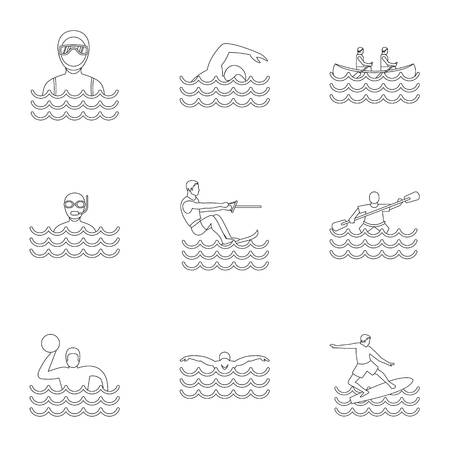Water stay icons set. Outline illustration of 9 water stay icons for web