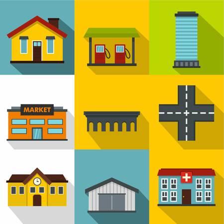 Public building icons set. Flat illustration of 9 public building icons for web