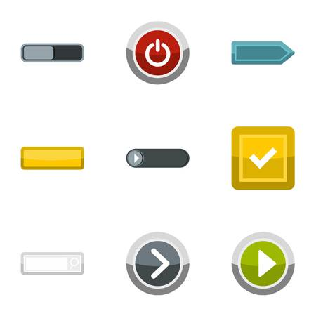 Different buttons icons set, flat style Stock Photo