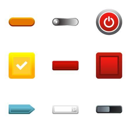 Button types icons set, flat style Stock Photo