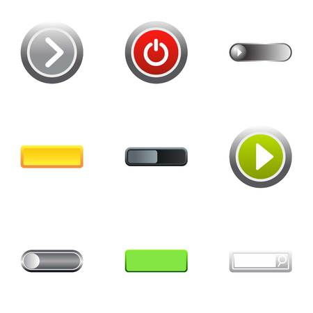 Buttons to push icons set, flat style